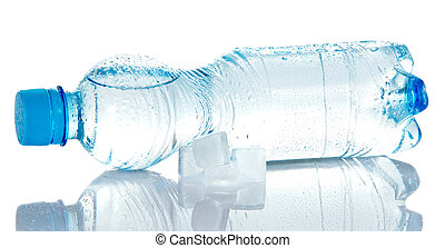 Cleared drinking water in bottle, and ice cubes