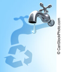 Water Recycle - The shadow of drop, symbolize the needed of...