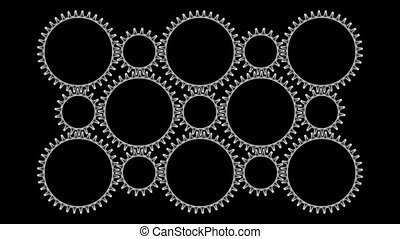 Gears3-32 - Motion background with set of rotating metallic...