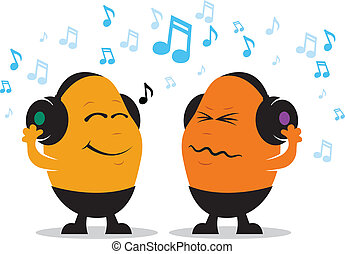 Headphone Music Cartoon - Colorful illustration of a happy...