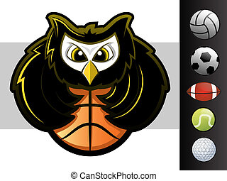 Owl Mascot - Owl sports team mascot with various sport ball...