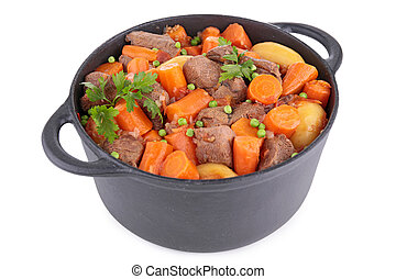 casserole with beef stew and vegetables