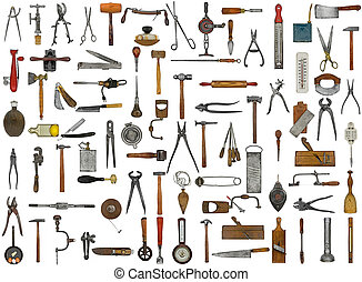 vintage tools and utensils collage background