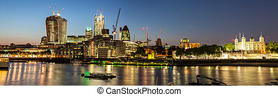London Thames Waterfront at night - LONDON, AUGUST 2013:...