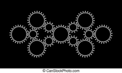 Gears3-54 - Motion background with set of rotating metallic...
