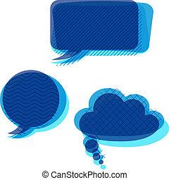 Set of transparent patterned speech bubbles.