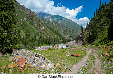 Dirt road in Tien Shan mountains, Kyrgyzstan - Dirt road in...