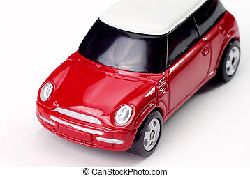 Toy Sports car - Toy red Sports car isolated over white with...