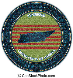 Label with map of tennessee. Denim style. Vector eps10