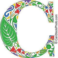 Floral C - Colorful floral initial capital letter C