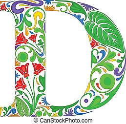 Floral D - Colorful floral initial capital letter D