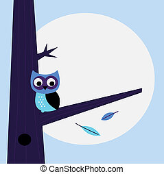 Halloween night Owl template with copy space - Halloween...