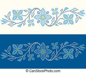 punto de cruz, bordado, ucranio, estilo