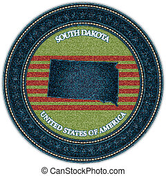 Label with map of south dakota. Denim style. Vector eps10
