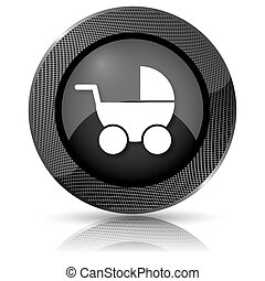 Baby carriage icon - Shiny glossy icon with white design on...