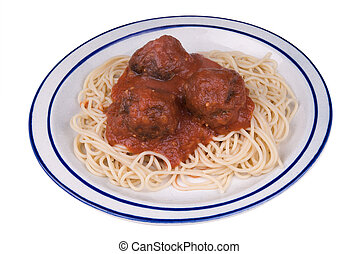 Spaghetti and meatballs with tomato sauce on a plate