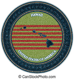 Label with map of hawaii. Denim style. Vector eps10