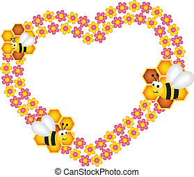 Bee and his honey flower heart - Scalable vectorial image...