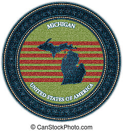 Label with map of michigan. Denim style. Vector eps10