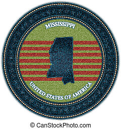 Label with map of mississippi. Denim style. Vector eps10