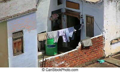 Clothes drying in the sun at poor ghettos