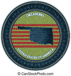 Label with map of oklahoma. Denim style. Vector eps10