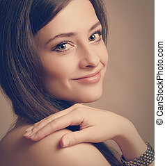 Beautiful smiling woman looking happy Closeup vintage...