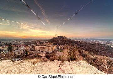sunset scenery of Lvov, view from height Ukraine