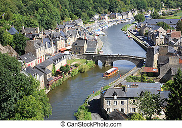 Dinan on the Rance, Brittany, France - Medieval city of...