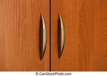 Part Of Wooden Door With Metal Handle