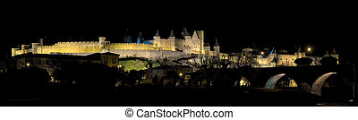 Carcassonne at night, Languedoc-Rousillon (France)