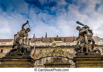 Prague Castle gate statues - Fighting giants statues at the...