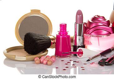 decorativo, Conjunto, cosméticos