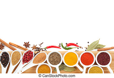 Various spices selection Isolated on white background