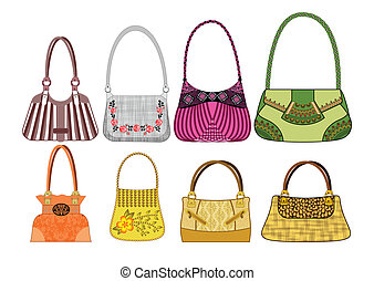 eight female bags with two and one handle in vintage and...