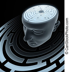 Confused Mind - The labyrinth inside the head. Concept of...
