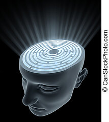 Confused Mind - The labyrinth inside the head Concept of...