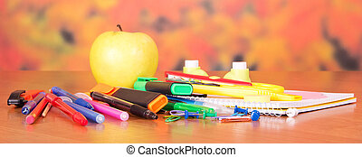 Close-up foto of small school supplies - Back to school. A...