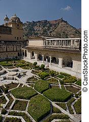 Gardens in Amber Fort near Jaipur - The Amber Fort,...