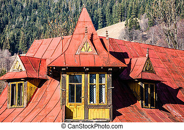 Traditional polish wooden hut from Zakopane, Poland.