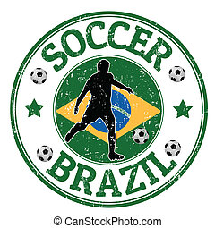 Brazil soccer stamp - Grunge stamp with soccer player and...