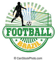 Brazil football stamp - Grunge stamp with fFootball player...
