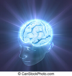 Brain The Power Of Mind - Head illuminated by the energy of...