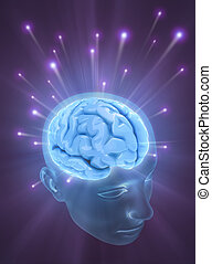Brain The Power Of Mind - Balls of energy jump out the brain...