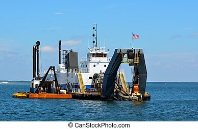 Dredger on the inlet of St. Augustine, Florida.