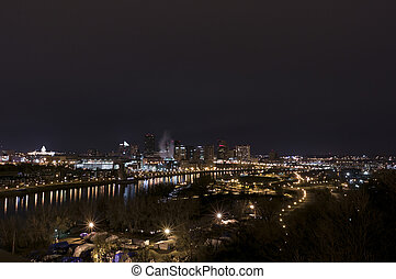 Aerial of Downtown Saint Paul at Night - Aerial of downtown...