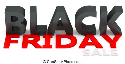3d black friday big sale on white background
