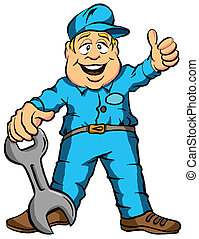 The Mechanic - Vector Illustration Cartoon of a Mechanic...