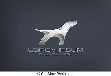 Fashion luxury jewelry Dog metal abstract silhouette logo vector design template. Spaniel symbol of steel. Metallic animal icon. Silver wolf figure.