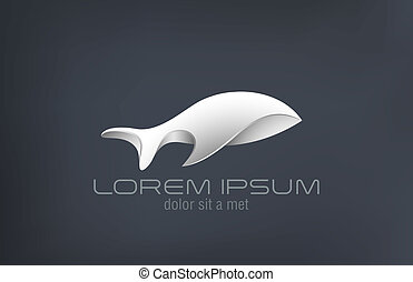 Logo luxury jewelry metal Fish abstract vector design